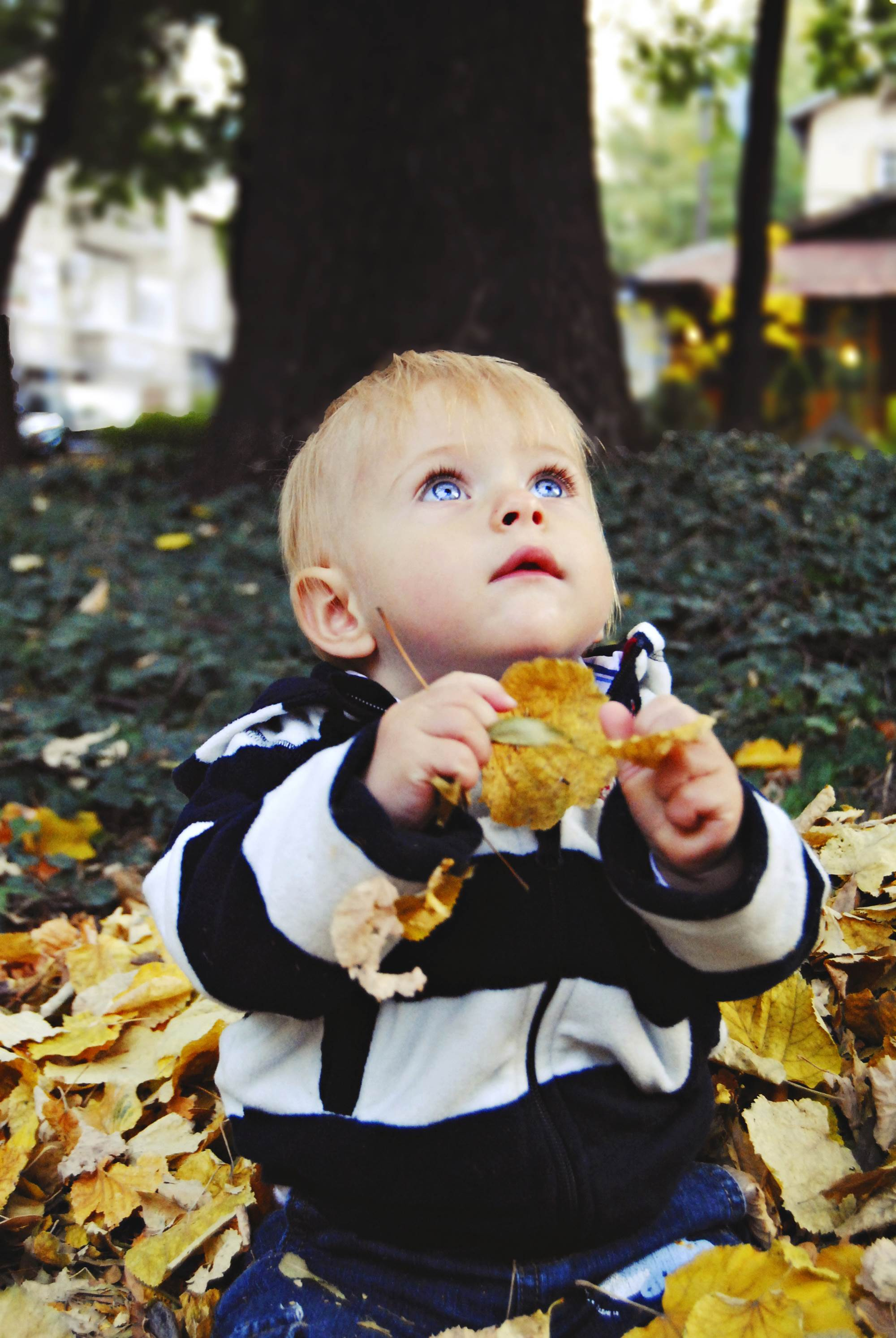 Дете си играе с листа, детска фотография